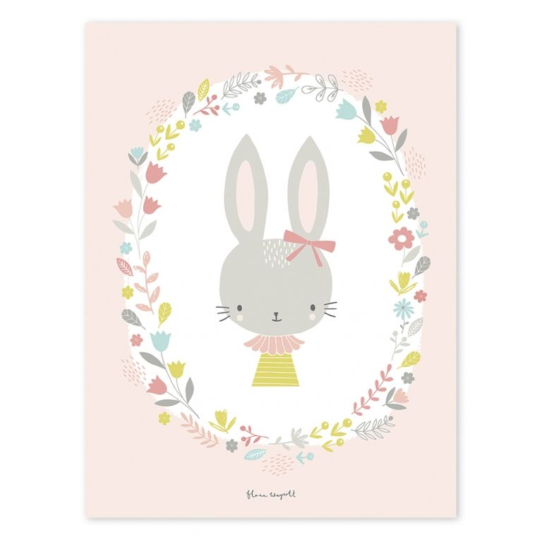 Lilipinso Kinderzimmer-Poster \'Hase\' rosa/pastell 30x40cm bei ...