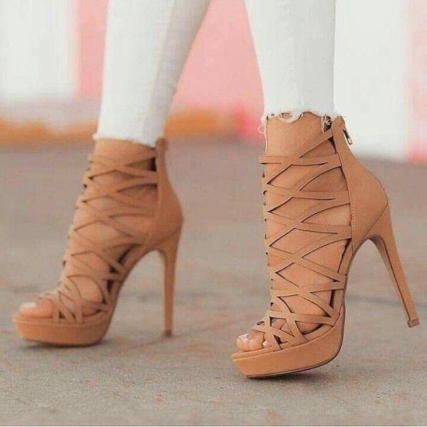 75147e1dd324 Camel Cut out Gladiator Heels Stiletto Heels Platform Sandals for Party