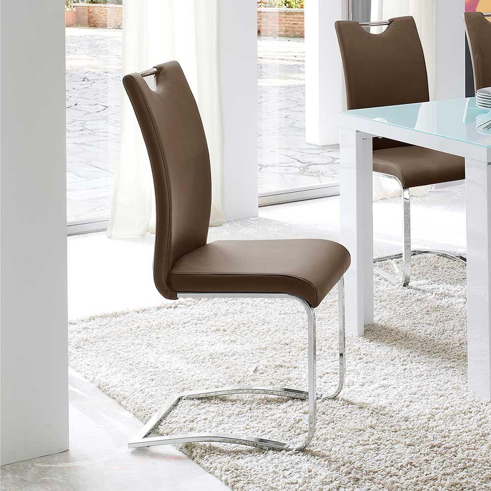 Freischwinger Stuhl in Cappuccino Griff (4er Set) Jetzt bestellen ...
