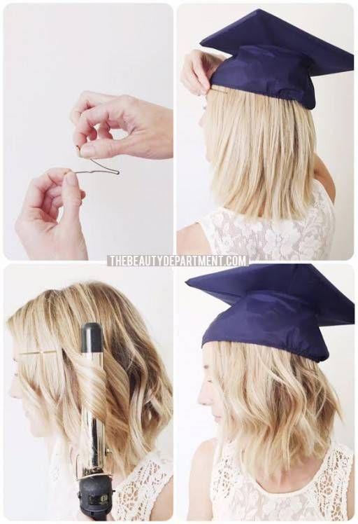 Graduation Hair Hack Graduation Hairstyles With Cap Graduation Hairstyles Graduation Look
