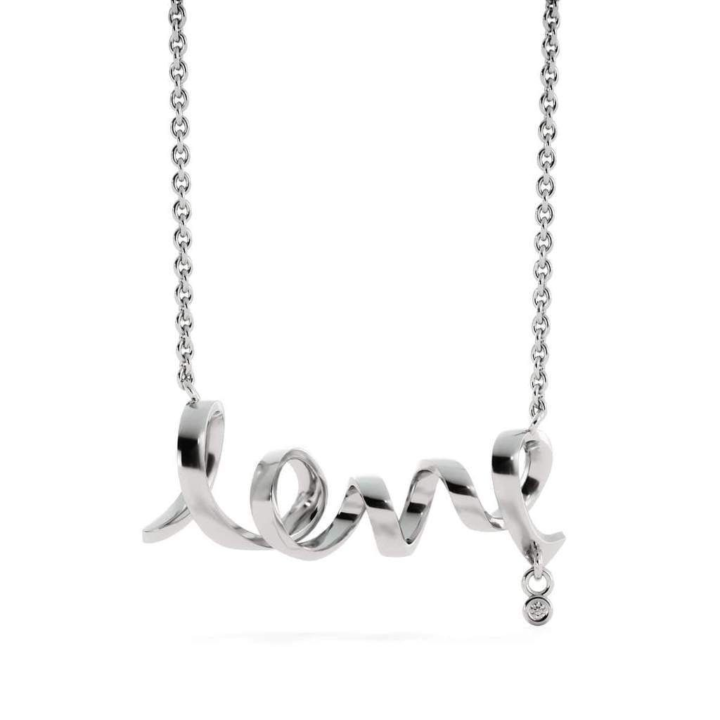 """This dainty polished necklace leaves no doubt in her mind about your true feelings. Created in cool surgical steel, this adorable design spells out the word """"love"""" in a playful cursive font. Embellished with a Cubic Zirconia attachment and a brilliant polished shine, this sweet style suspends centered along a 16 to 22 inch adjustable cable chain that secures perfectly with a lobster clasp Our jewelry are hand-made in the U.S.A by awesome working moms ! We are proud to support strong communities"""