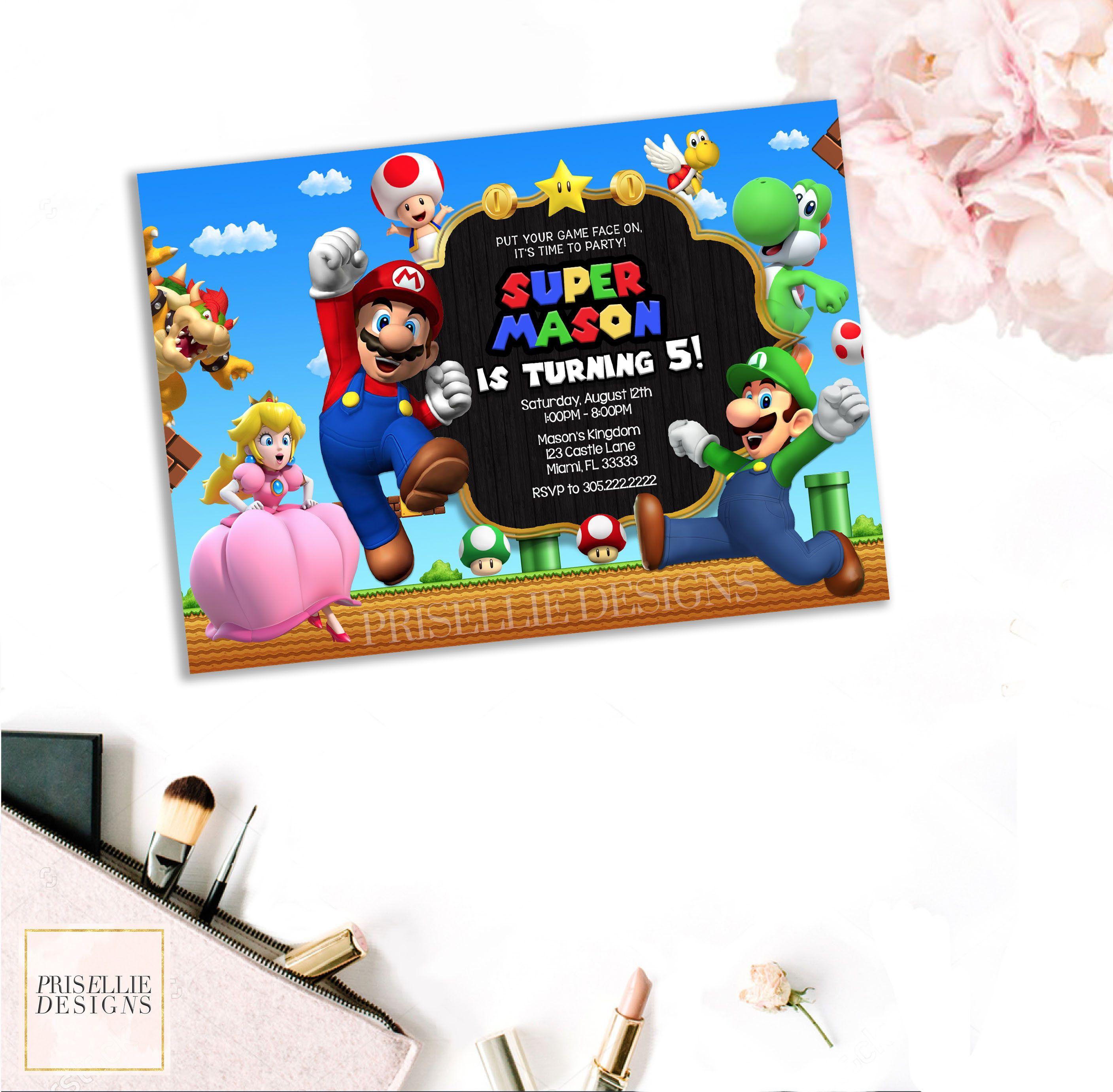 Super Mario Invitation Super Mario Birthday Invitation Mario and