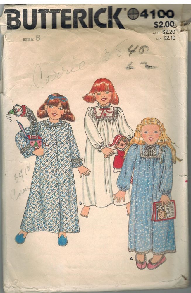 4100 Vintage Butterick Sewing Pattern Girls Robe Long Nightgown ...