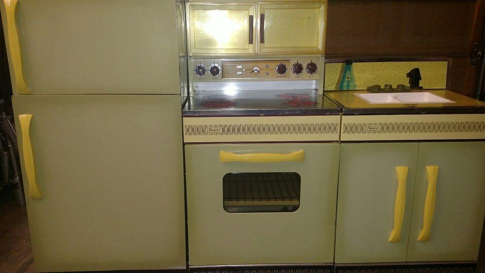 Vintage Wolverine Rite Hite Play Kitchen Refrigerator Stove Oven Sink Cabinet Vintage Kitchen Metal Kitchen Kids Kitchen