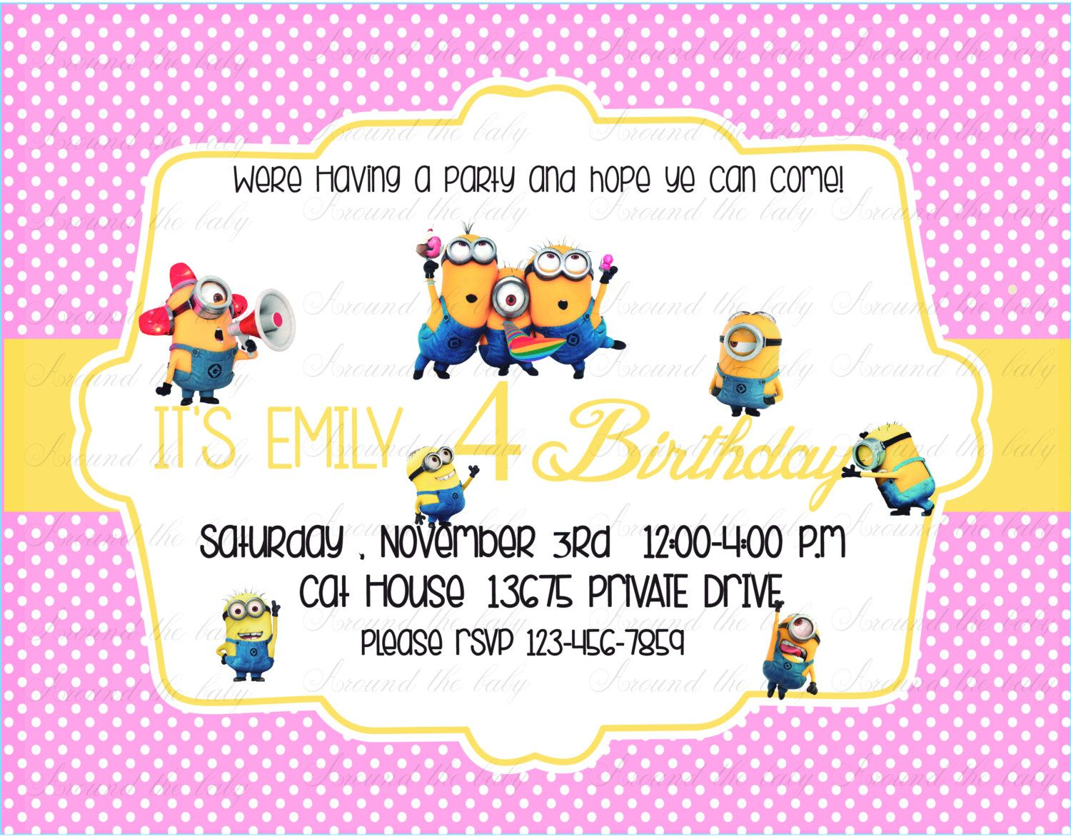 PRINTABLE Minions Birthday Invitation boy and by aroundthebaby ...