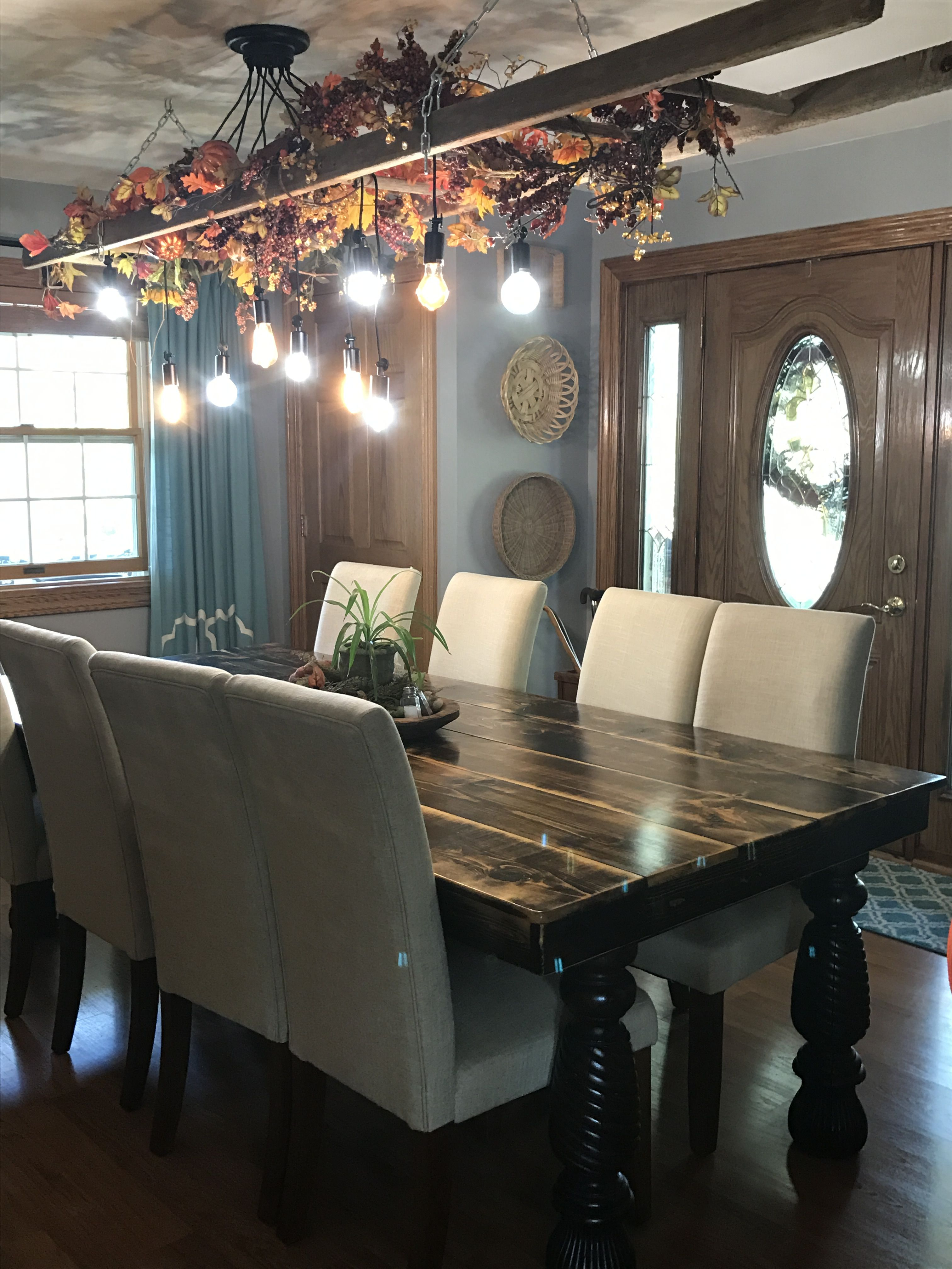Farmhouse table linen chairs industrial ladder light