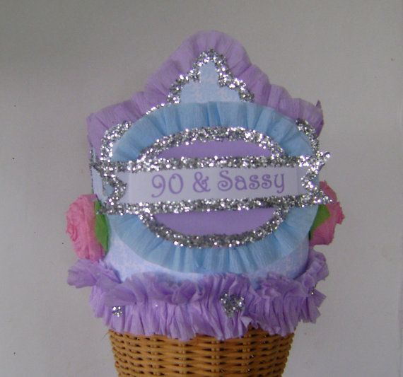 90th Birthday Party Hat Crown By Glamhatter