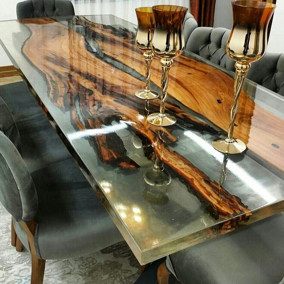 Resin Poured Wood Table Wood Resin Table Wood Table Diy Resin Furniture