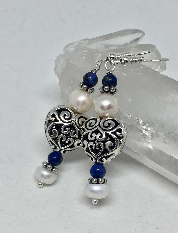 Photo of Lapis pearl silver heart earrings, silver filigree blue stone earrings