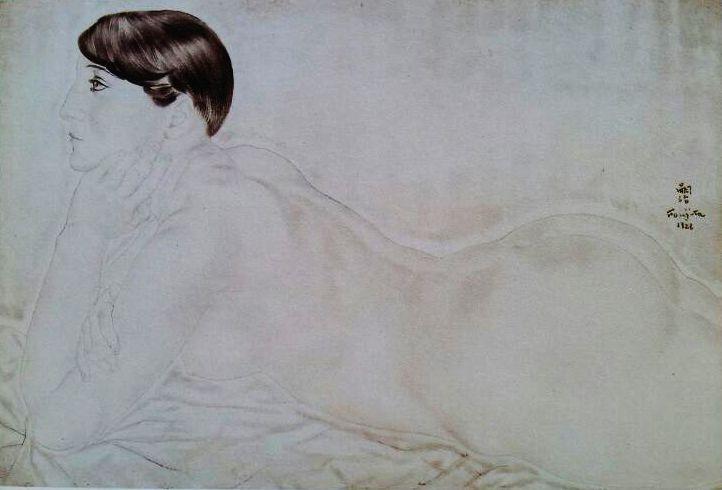 1926 nu allongé de profil Peinture sur soie 55 x 38 Collection particulière