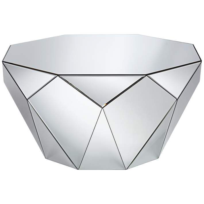 vezzena geometric mirrored coffee table | octagon mirror, mirrored