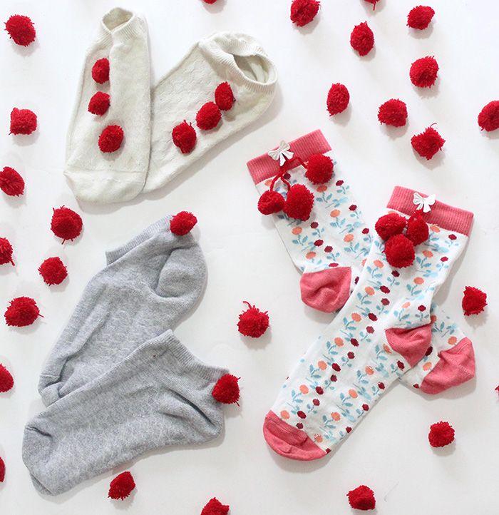How To Make Custom Pom Pom Socks The Craftables Diy Socks Pom Pom How To Make
