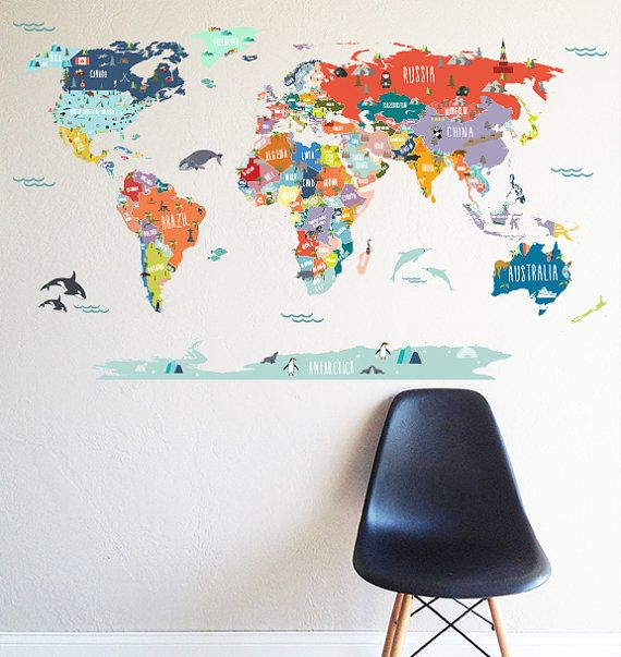 Wall decal world map interactive map wall sticker room decor map decor