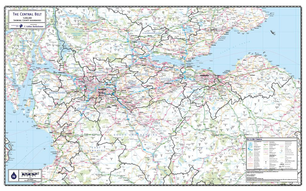 The Central Belt of Scotland County Map Scotland and Edinburgh