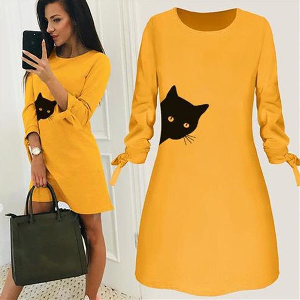 Women Fashion O-neck Bow Elegant Dress Straigth Cat Print Casual Dress Spring Loose Mini Dresses 3/4 Sleeve Plus Size #B