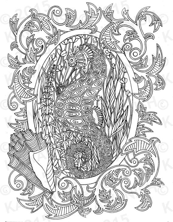 Seahorse Underwater Adult Coloring Page Gift Wall Art Ocean Line Drawing Adult Coloring Mandalas Coloring Pages Adult Coloring