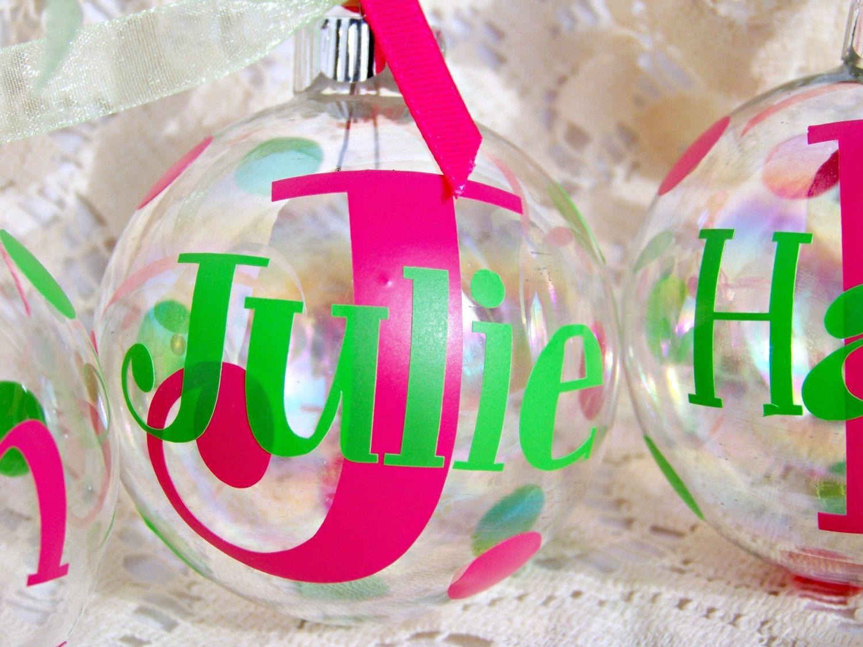 Custom name ornaments - Custom Christmas Ornaments Monogram Initial Name Vinyl 6 25 Via Etsy