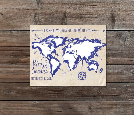1st anniversary world map christmas gift for him husband boyfriend anniversary world map christmas gift for him husband boyfriend map vintage ink watercolor printable map travel map custom long distance gumiabroncs Choice Image