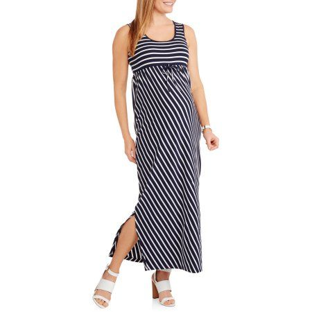 Oh! Mamma Maternity Sleeveless Striped Maxi Dress, Size: Small, White