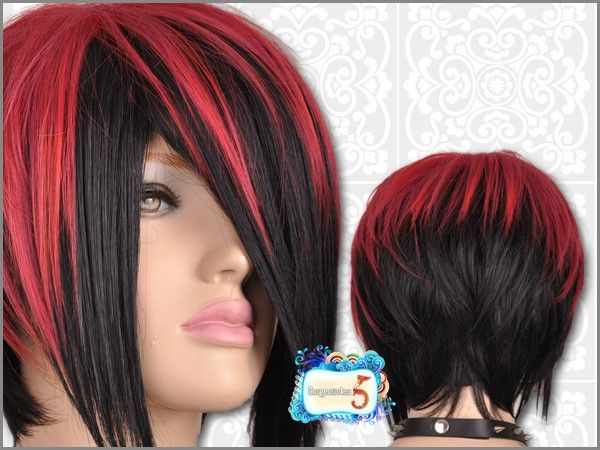 Red And Black Hair Edgy Short Hair Short Thin Hair Hair Color Red Highlights