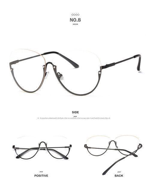 Half Moon Sexy Ladies Aviator Glasses Frame Transparent Eyeglasses Impeccable Modern Flair Semi-Rimless Women Frame Eyewear