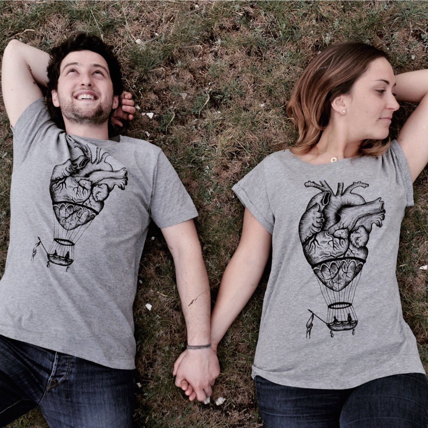 Two hearts beating as one! This anatomical heart t-shirt or couples t-shirts set makes the perfect gift for your favorite couple. ❤️❤️