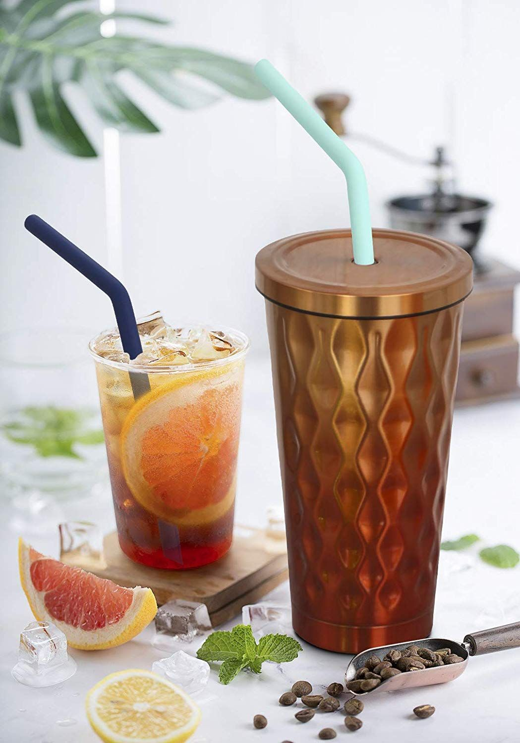 12 pack reusable silicone drinking straws with case
