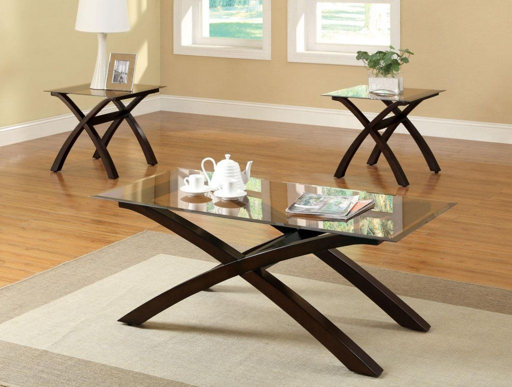 Wood Glass Coffee Tables Modern Elegant Different Size Tempered Glass Coffee Tables With Brown Shaped Wood Base Also A Decoration Inspiration Decoration Design [ 774 x 1024 Pixel ]