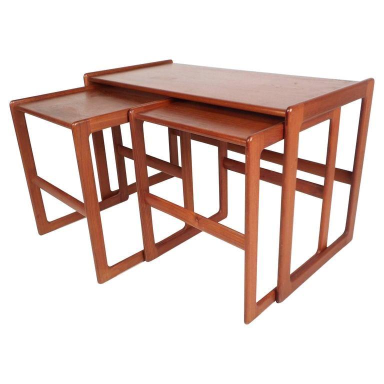 Set Of Mid Century Modern Danish Teak Nesting Tables Wood Nesting Tables Nesting Tables Table