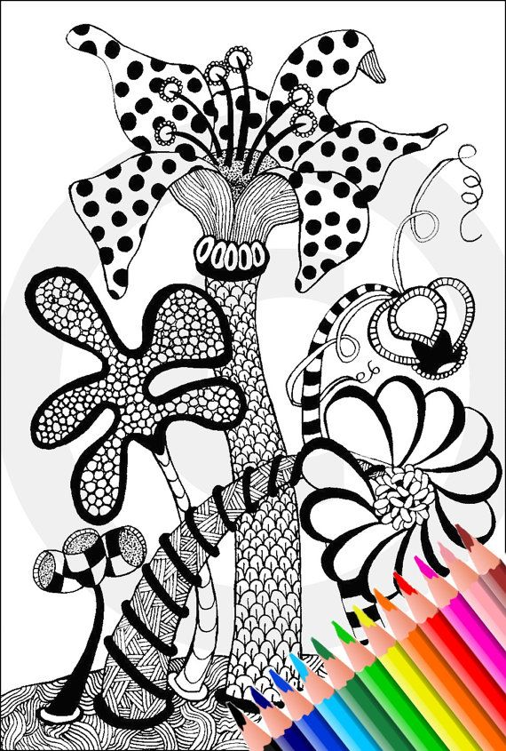 Adult Coloring Page Printable Book Pdf Instant Download Zentangle Zendoodle Doodle Art Bible Journaling