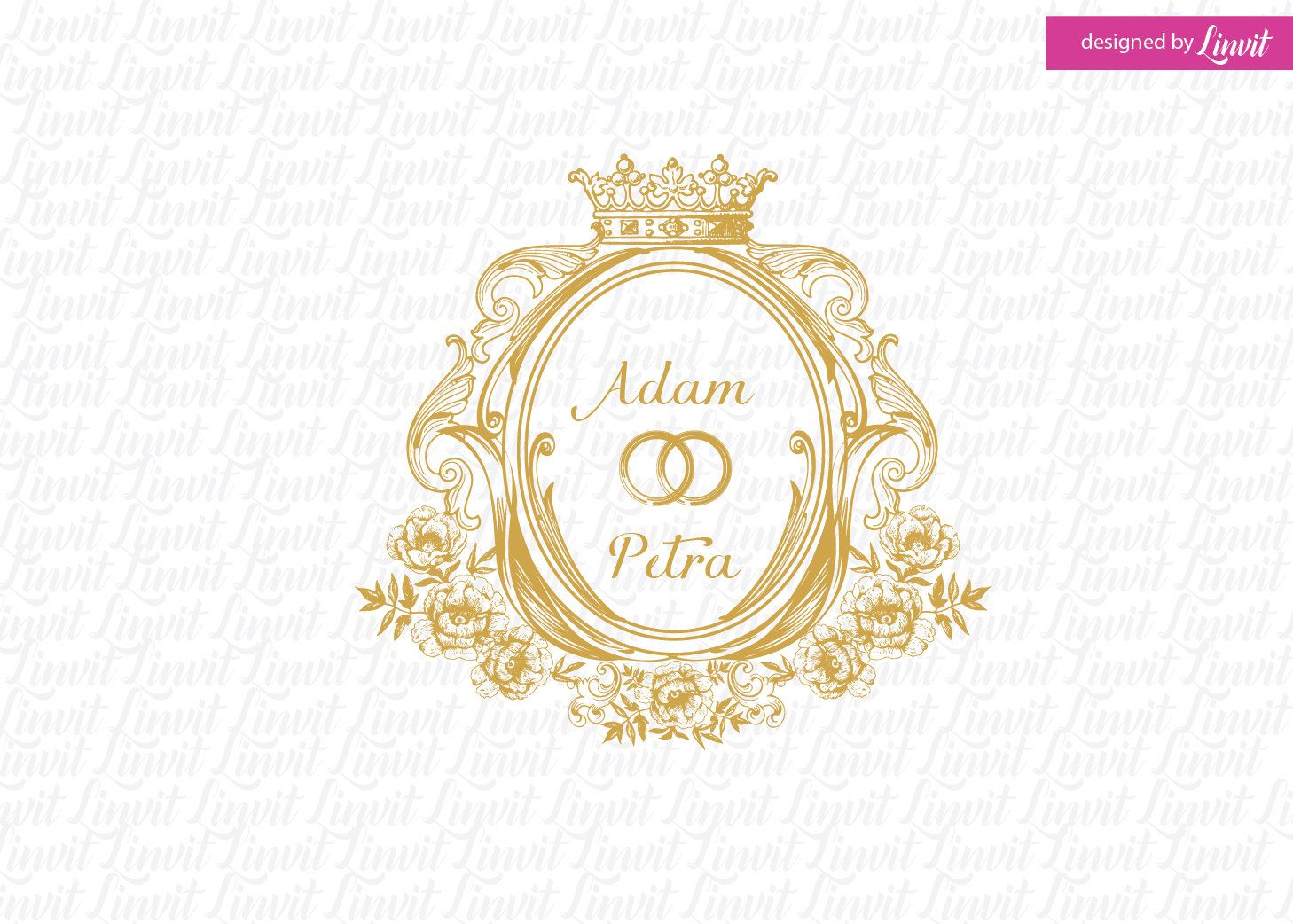 Vintage Luxury Wedding Monogram Logo Crest Custom Signo Monograma De La Boda
