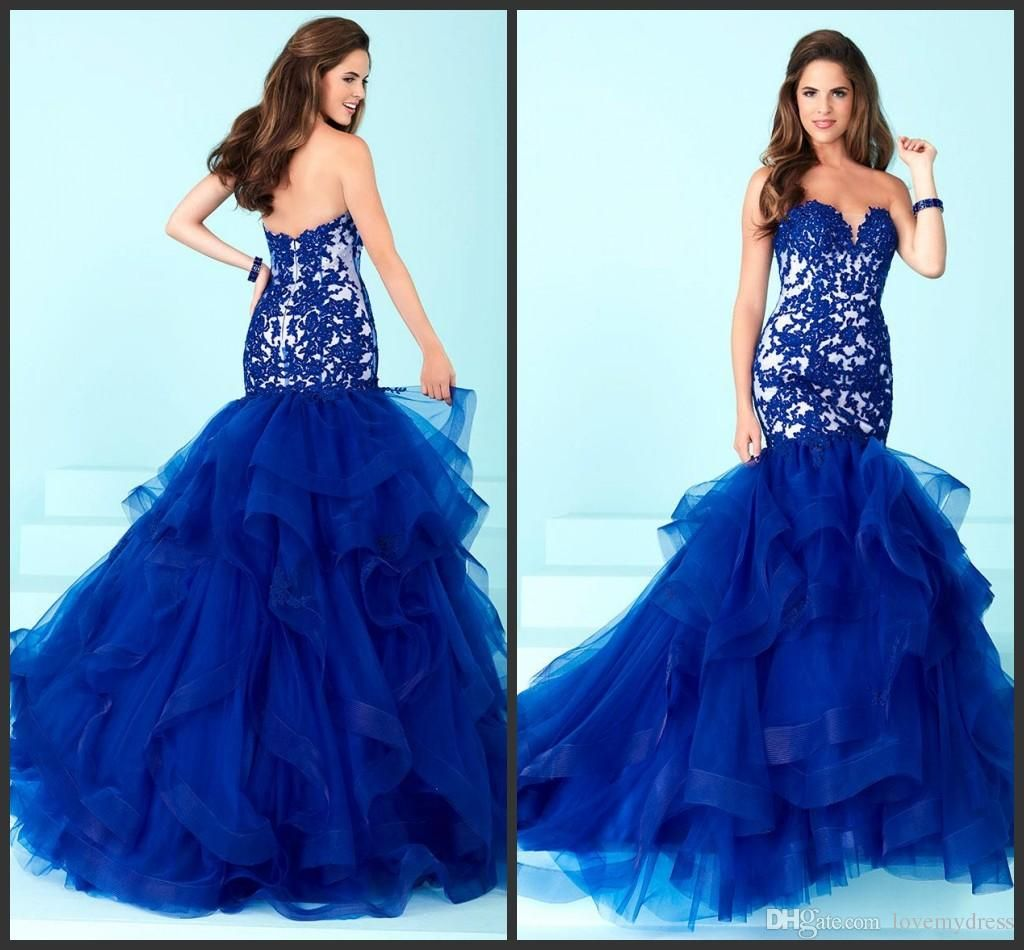 Royal Blue Cheap Long Mermaid Dress Appliques Tiered Skirt Elegant ...