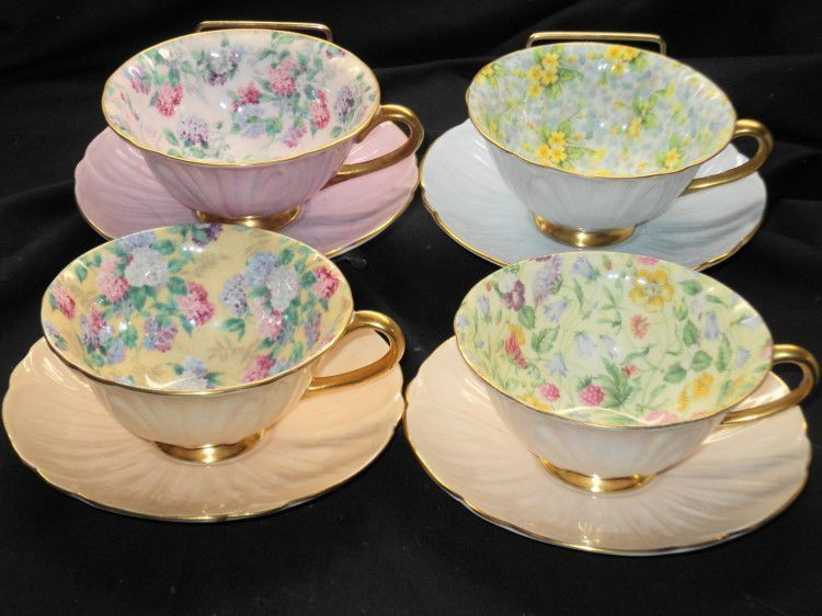 SHELLEY SET OF 4 COLLECTION CHINTZ OLEANDER TEA CUP AND SAUCER