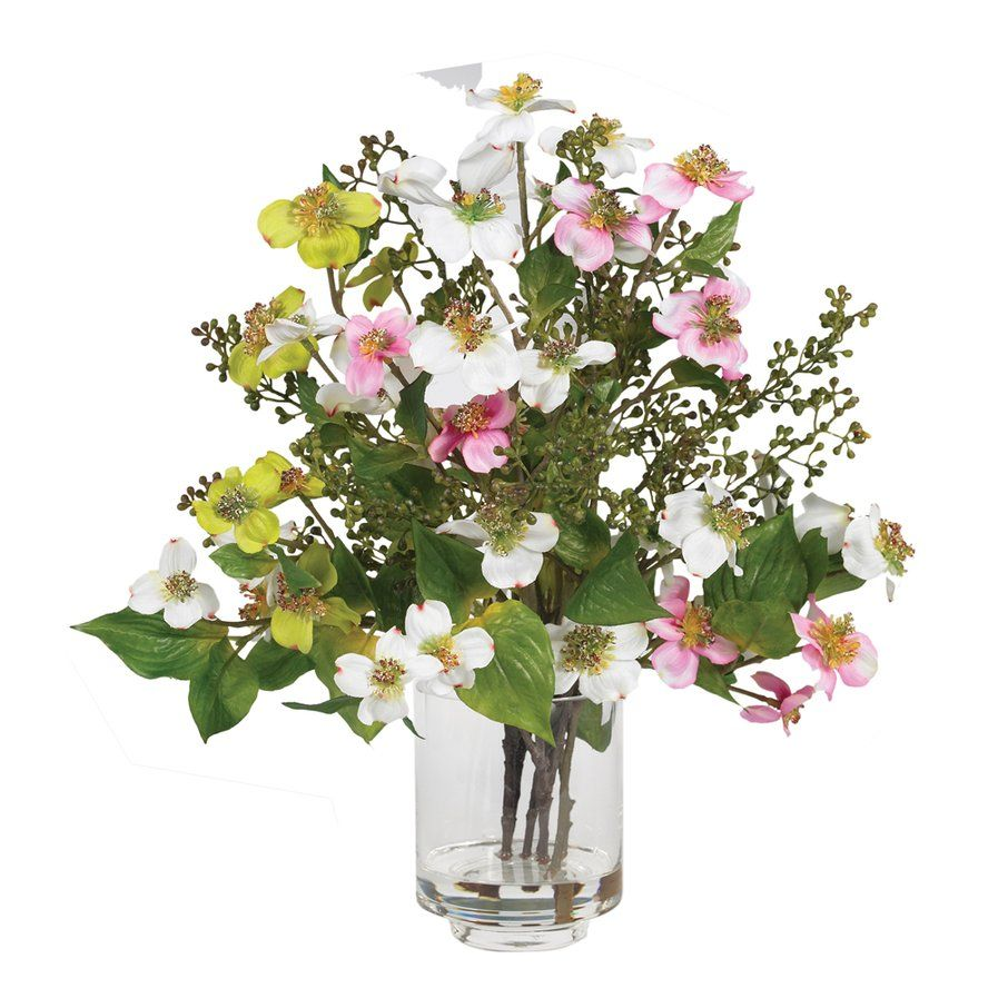 Silk Dogwood Arrangement in Glass Vase Faux Floral