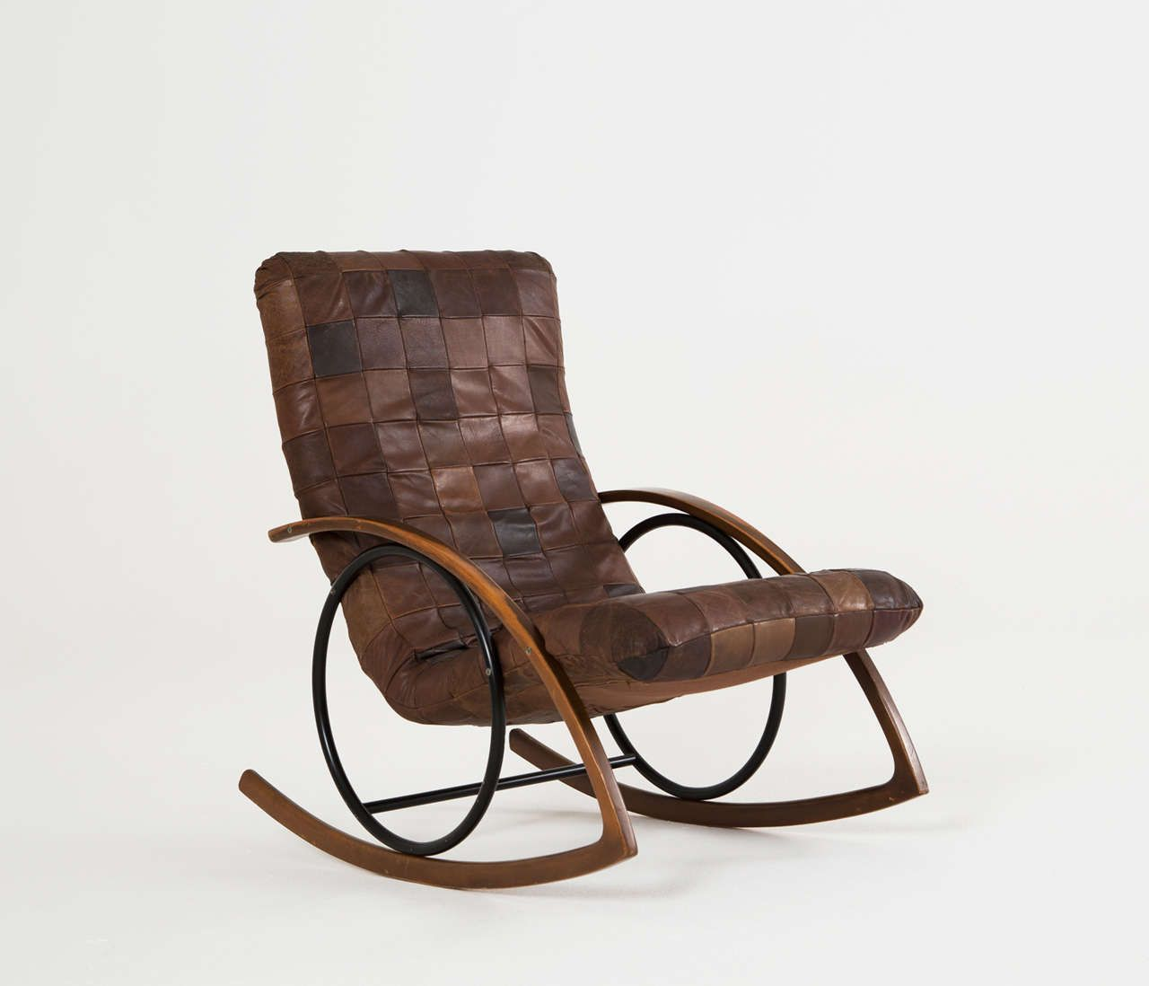Rocking Chair In Brown Leather Patchwork