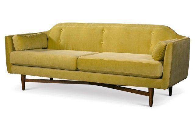 Coco 83 Velvet Sofa Chartreuse Velvet Sofa Sofa Furniture