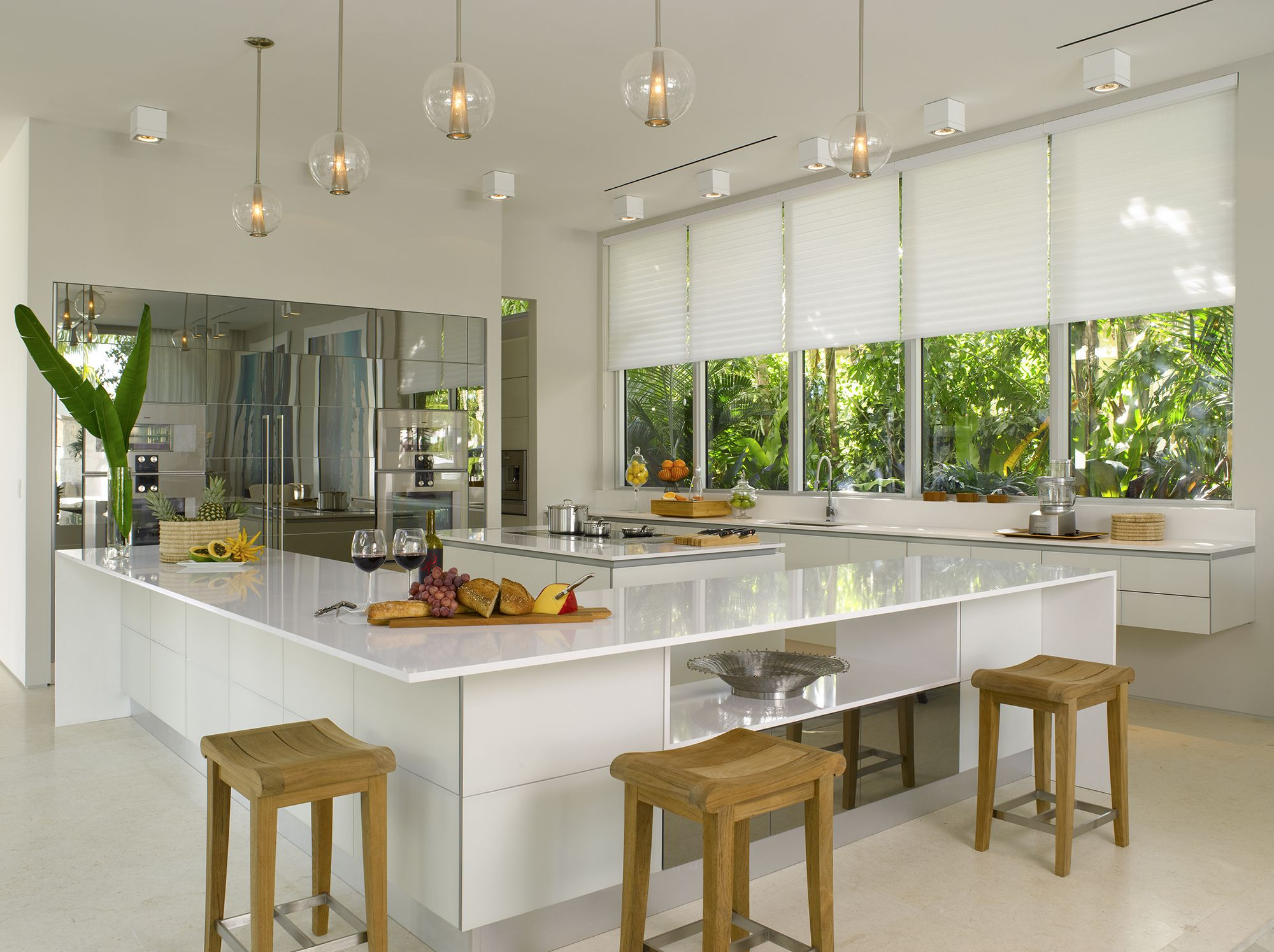 A Brilliant White Kitchen Design With Silhouette Window Shadings