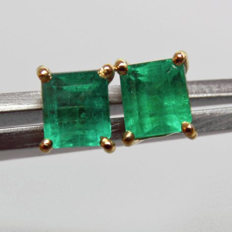 1 00ct Aaa Quality Emerald Cut Columbian Small Stud Earrings 18k Gold