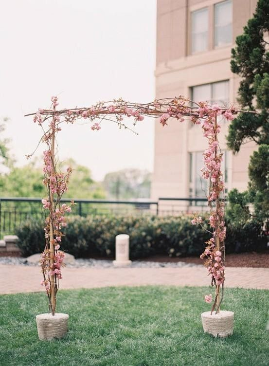 2014 Scrumptious Cherry Blossom Wedding Arch Pastel Pink