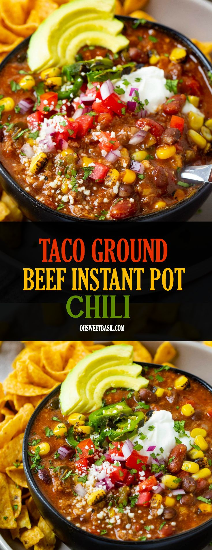 Taco Ground Beef Instant Pot Chili Video Oh Sweet Basil Recipe Ground Beef Healthy Instant Pot Recipes Stuffed Peppers