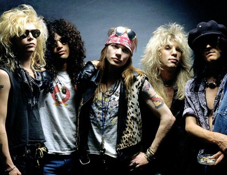 Guns N' Roses. From left to right: Duff McKagan (bass guitar, vocals), Slash (guitar), Axl Rose (vocals), Steven Adler (drums) and Izzy Stradlin (guitar, vocals).