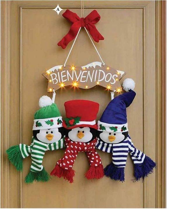 Adornos Para Puerta De Navidad Con Moldes Gratis Navideño