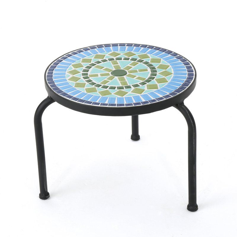 Sebago Side Table Outdoor Accent Table Outdoor Side Table Round Tiles