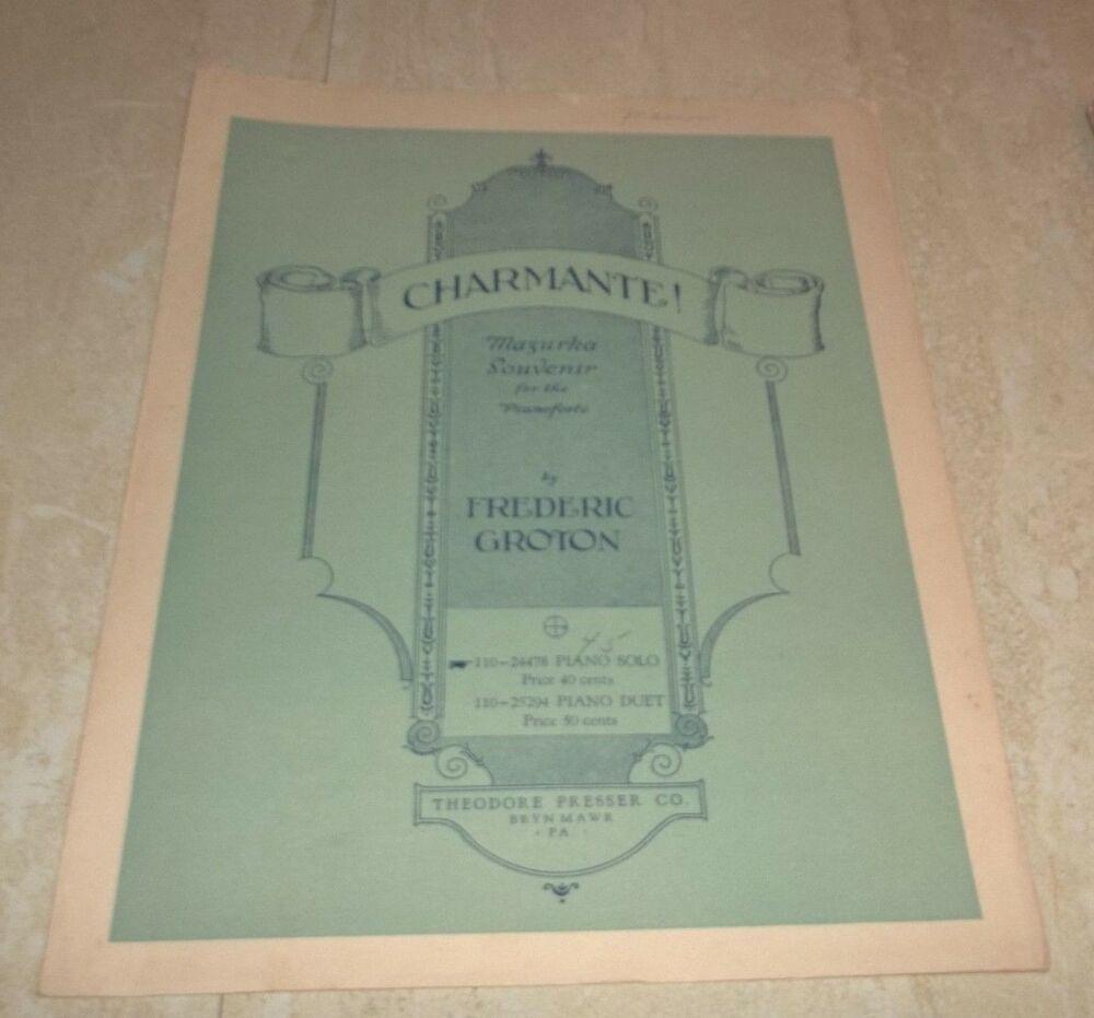 Vintage Sheet Music! Charmante! Mazurka Souvenir for the Pianoforte 1929 Groton #vintagesheetmusic Vintage Sheet Music! Charmante! Mazurka Souvenir for the Pianoforte 1929 Groton #vintagesheetmusic
