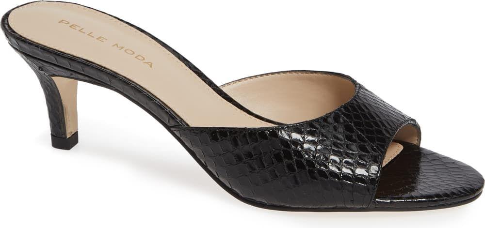 An Open Toe Balances The Modest Kitten Heel On An Essential Slide That S Both On Trend And Timeless Heels Womens Sandals Kitten Heel Shoes
