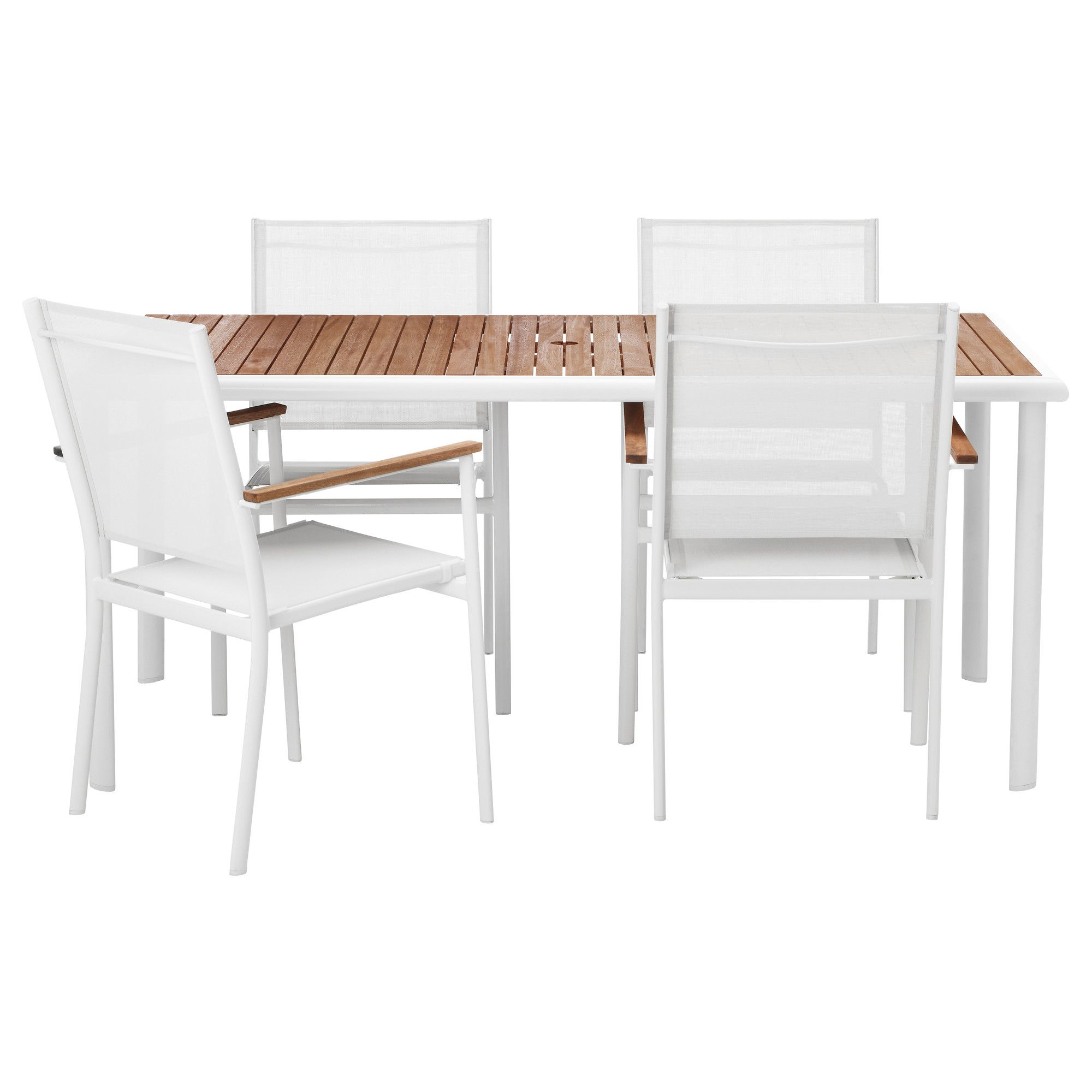 HASSELÖN Table and 4 armchairs, eucalyptus, white $345.00 Article ...