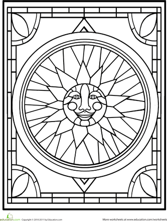 Stained Glass Window Worksheet Education Com Stained Glass Patterns Free Abstract Coloring Pages Stained Glass Butterfly