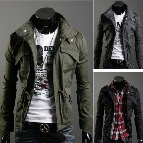 Fashion Multi-pocket Zipper Stand Collar Men's Slim Cotton Jacket
