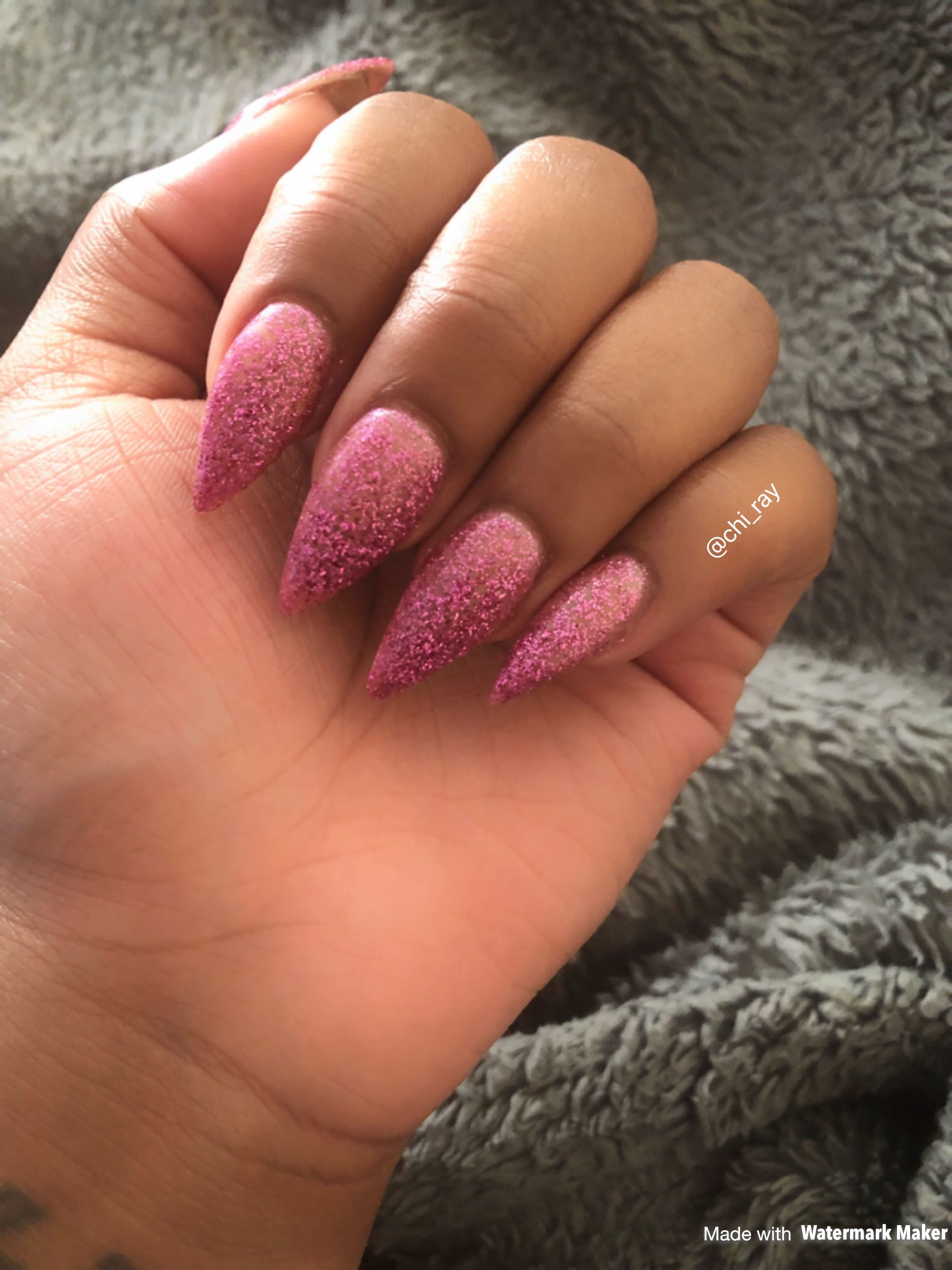 Pink Glitter Ombre Nails Stiletto Nails Glam Paintobsessed