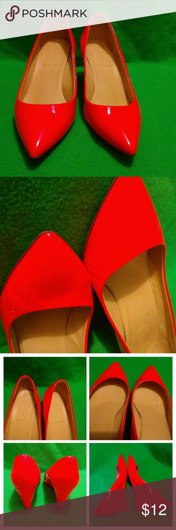 J.Crew pointy wedges Size 8 True to size Burnt orange very bright  color 2nd photo show little scratch and cover up with nail polish. Normal sight of wear J. Crew Shoes Wedges